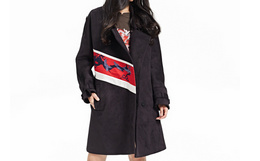 2.7折!JICHENG设计师品牌黑色龙纹刺绣大衣