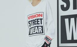 4.8折!VISION STREET WEAR 植绒字母logo男女卫衣