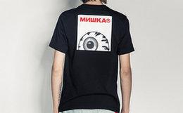 6.5折!MishkaNYC 圆领罗纹背后眼球印花男T恤短袖