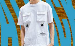 3.5折!THETHING 贴布口袋织带插扣男套头短袖T恤