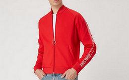 4.8折!off-white 红色做旧圆环拉链织带拼接男棒球外套