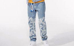 用劵优惠!Mishka NYC直筒字母涂鸦纯色男牛仔长裤