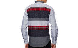 冰点价1.2折!Izzue多纹路撞色拼接梭织衬衫