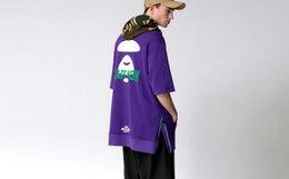 新品用劵!Aape撞色字母猿颜迷彩拼接连帽短袖男卫衣