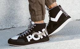 5.6折!PONY拼接透明logo男女高帮帆布鞋