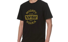 5折!EVISU字母logo标志印花男圆领套头短袖T恤