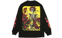 美国PLEASURES BERTHA骷髅玫瑰印花长袖T恤