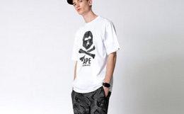 Aape 迷彩猿颜 x-bone 字母印花男女圆领短袖T恤