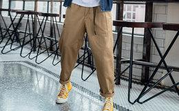 新品4.9折!DUSTY宽松直筒工装裤卡扣腰带男休闲裤