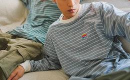 新品!MostwantedLab 彩虹条纹logo纯棉男女长袖T恤