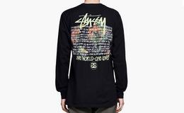 小幅优惠!Stussy斯图西圆领地图字母嘻哈男女长袖T恤