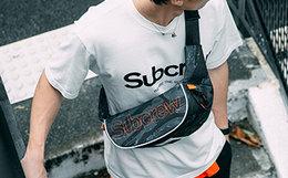 新品8.8折!Subcrew黑色虎纹迷彩军事型格腰包胸包