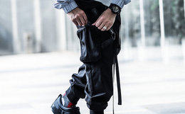 ENSHADOWER隐蔽者口袋飘带伞兵裤机能工装男裤