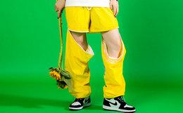 9折!FLOAT 纯色可拆卸两穿束脚裤男女宽松运动短裤