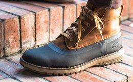 新品8.1折!CAT卡特牛皮织物拼接中帮工装靴