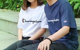 新品5.6折!CHAMPION冠军草写刺绣字母男女短袖T恤