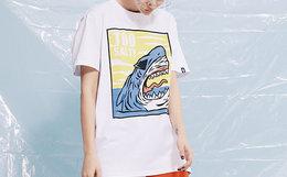 5.4折!THETHING轻薄漫画鲨鱼印花男女短袖T恤