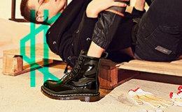 5.3折!BEFFON/北鹿 圆头粗跟漆皮系带短靴女马丁靴