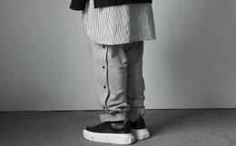 新品!CGNY侧面四合扣水洗魔术贴束腿男女卫裤