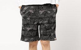 日潮 bape直筒宽松弹幕迷彩字母满印男舒适运动短裤