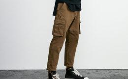 5.5折!Lilbetter破洞贴袋帅气纯色九分束脚休闲裤