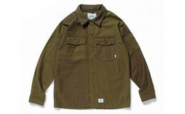 新品用劵优惠!WTAPS方领纽扣两袋拼色军事工装衬衫