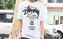 8折!Stussy斯图西世界巡回字母印花短袖男女宽松T恤