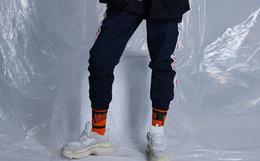 3.5折!THETHING复古串标织带拼接收脚口男运动裤