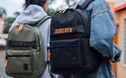 新品5折!Subcrew 拼接织带撞色刺绣字母双肩包男女背包