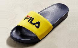 新品!意大利FILA运动风经典LOGO真皮简约凉拖鞋