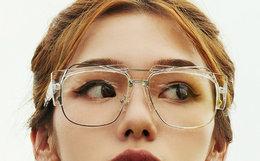 新品!BEASTIE金属装饰ins火热透明半框平光眼镜