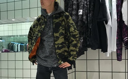 bape线条弧形下摆猿人迷彩连帽套头卫衣帽衫男款 日本制