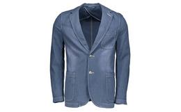 2.3折!日本M-GRAPH蓝色平驳领磨白牛仔西装外套