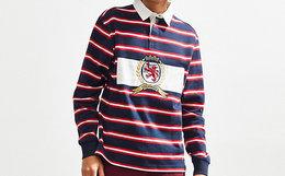 Tommy Hilfiger彩色条纹刺绣橄榄球套头翻领男Polo