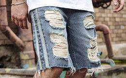 冰点价2.4折!VIISHOW 2018SS织带拼接破洞须边五分牛仔短裤