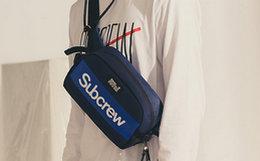 7.7折!Subcrew皮革logo印花撞色单肩斜挎胸包男腰包