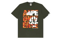 Aape橙色迷彩字母猿颜印花宽松男士短袖圆领T恤