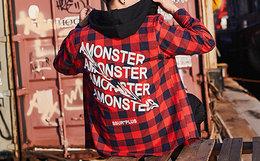 新品!美潮SSUR×Amonster联名款2018SS扭曲字母格子衬衫